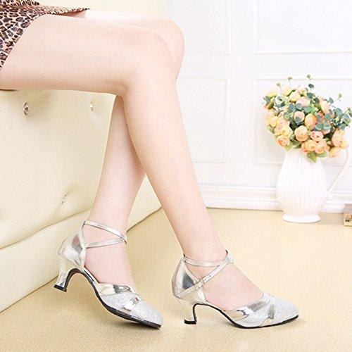 XPY&DGX Latino scarpe da ballo nel tacco alto adulto square dance scarpe argento femmina di grandi dimensioni, scarpe da ballo e danza moderna scarpe, 5 245MM