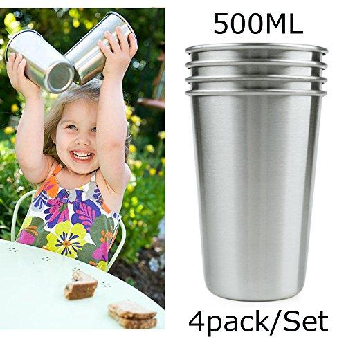 Premium Edelstahl Becher (Pack 4 Stück) 17oz 500Ml BPA frei führen kostenlose Premium 18/8 Reisen Camping Metall Pint Trinkbecher für Kinder