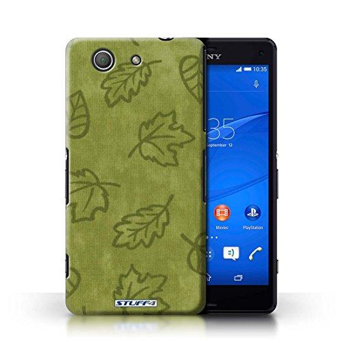 Kobalt® Imprimé Etui / Coque pour Sony Xperia Z3 Compact / Jaune conception / Série Motif Feuille/Effet Textile Vert