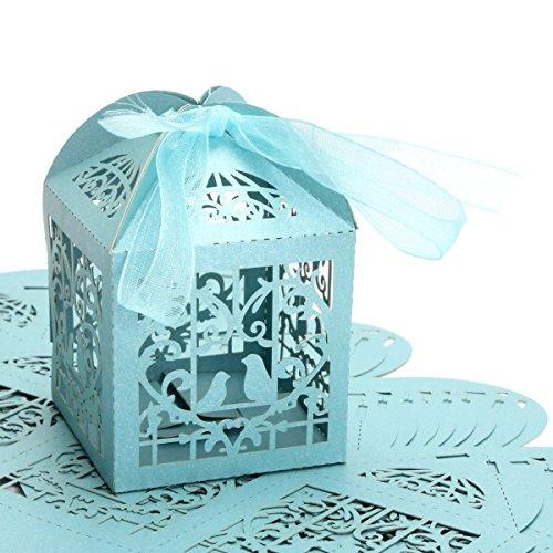 Bluelover 10 Stücke Durchbohrt Birdcage Candy Süße Paket Geschenkbox Hochzeit Kuchen Schokoladenkasten - Blau
