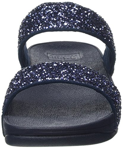 Fitflop Glitterball Slide, Scarpe Col Tacco Donna Blue (Midnight Navy)