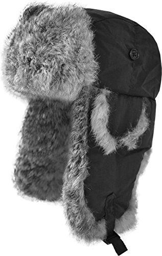 Fellmütze mit grauem Kaninchenfell und Steppfütterung Farbe Schwarz Größe XL (Verstellbare Pilotenmütze)