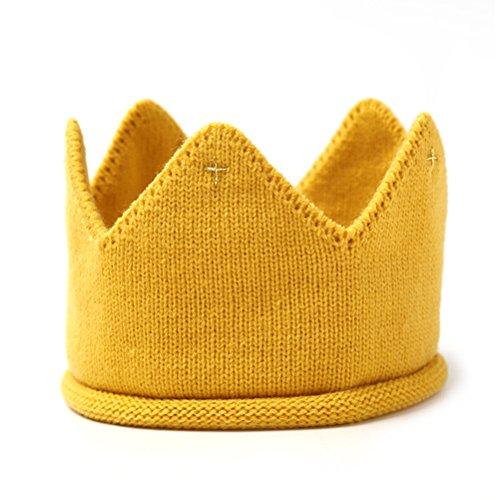 LUOEM Baby Krone Strickmütze Stoff Krone Stirnband Kopfschmuck für Geburtstag Party Karneval Fasching Hochzeit Dekor -
