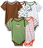 Luvable Friends Baby Infant 5 Pack Bodysuits, Green Moose, 3M(0-3 Months)
