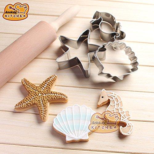Anokay Fondant Ausstecher Ausstechformen Muschel Stern Seepferdchen aus Edelstahl für Tortendeko Backen Zubehör Kleine Muschel Ausstecher
