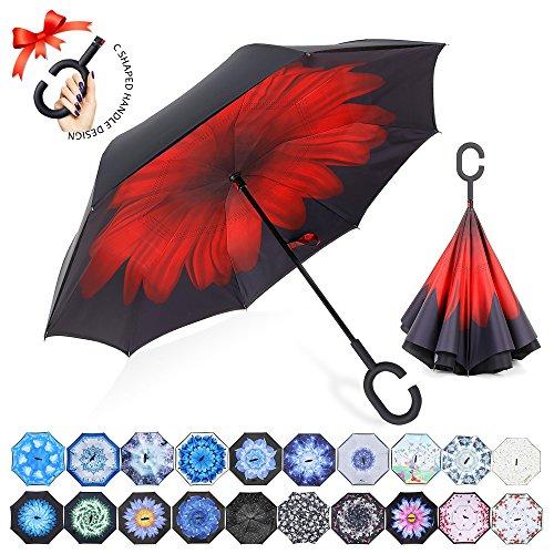 ZOMAKE Inverted Stockschirme, Innovative Schirme Double Layer, Winddicht Regenschirm, Freie Hand,Umgedrehter Regenschirm mit C Griff für Auto Outdoor (Rote Chrysantheme)