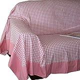Homescapes handgewobene Tagesdecke Sofaüberwurf Plaid Gingham, 230 x 250 cm, 100% reine Baumwolle, rosa weiß kariert
