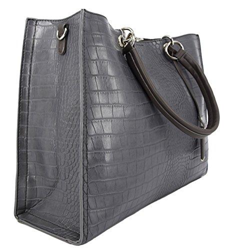 3fca32ad2c David Jones - Grand Sac à Main Shopper Cabas Fourre-Tout Femme Cuir Croco -  Sac Tote Shopping ...
