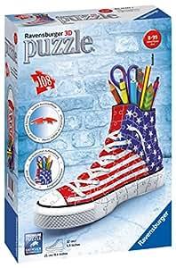 Ravensburger 12549 - 3D Puzzle Sneaker Portapenne Bandiera degli Stati Uniti d'America, 108 Pezzi