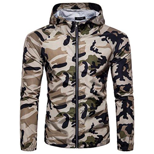 Veste Vêtements de Protection Solaire Hommes Militaire Camouflage Zipper Imprimer, QinMM Été T-shirt Chemisier À Capuche Respirant Blouson Softshell (Kaki, Medium)