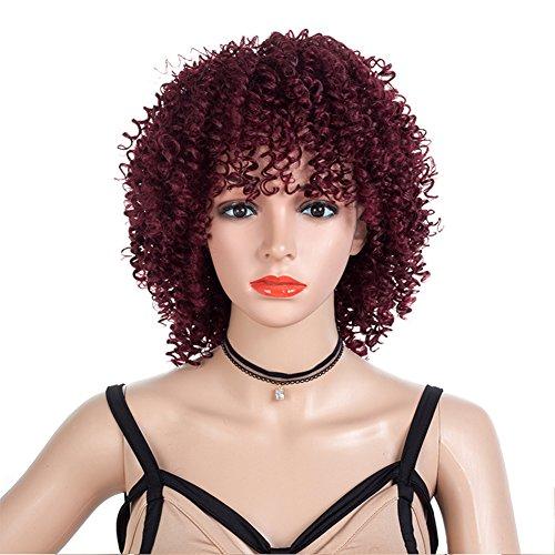 Frauen synthetische hitzebeständige Perücken kurze afrikanische verworrene afro lockiges Haar mit Perücke Kappe Rot