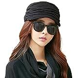 SIGGI schwarze Baumwolle Zeitungsjunge Mütze Barett Mütze Für Frauen Mit Visor Baskenmütze Schirmmütze