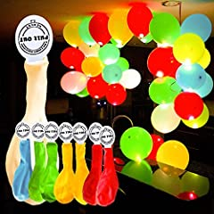 Idea Regalo - YOHOOLYO 50pcs Palloncini Colorati LED Palloncini Luminosi Luce Led 30cm per Decorazione Natale Festa Matrimonio Compleanno ecc