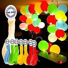 Idea Regalo - YOHOOLYO 50 x Palloncini Colorati LED Palloncini Luminosi Luce Led 30cm per Decorazione Natale Festa Matrimonio Compleanno ecc