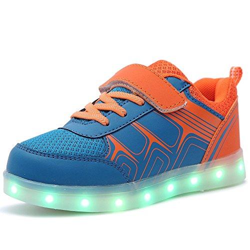 HUSK'SWARE Jungen Mädchen Turnschuhe USB Lade Flashing Schuhe Kinder LED leuchtende Schuhe mit farbigen Schnürsenkel (EU 30, orange)