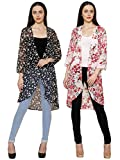 2Day Women's Georgette Combo Of 2 Shrug (Black Red_Medium)