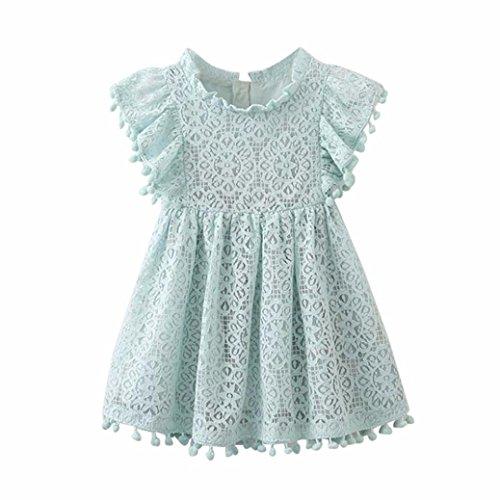 feiXIANG Kids Röcke Baby Kleid Mädchen Floral Partykleid Spitze Princess Rock Hollow Dress Abendmode Baby Kinder bestickte Hohlkleid (110, Hellblau)