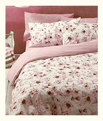 Bassetti completo copripiumino lenzuola e 4 federe matrimoniale rosa double face (sacco 250x200+45, sotto 175x200, 4 federe 80x50)