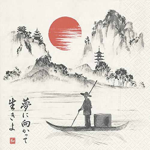 20 Servietten Japanischer Bootsfahrer/See / Japan/Boot 33x33cm See, Japan