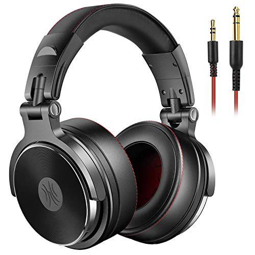 Over Ear Kopfhörer OneOdio DJ Kopfhörer mit Kabel Adapter Frei Geschlossene Studio Kopfhörer mit Share Port Stereo Surround Headphones mit Mikrofon für Podcast, Recording, Monitoring (Schwarz)