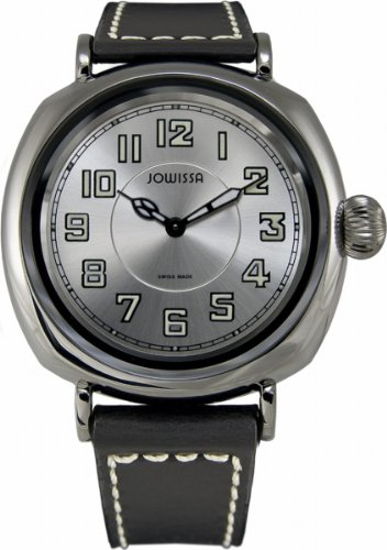 Jowissa Men's J4.028.L Atavus Black PVD Stainless Steel Black Genuine Leather Watch
