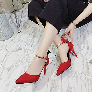 LvYuan Da donna Sandali Cashmere Estate Footing Perline A stiletto Nero Rosso 7,5 - 9,5 cm ruby