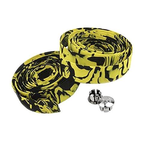 Rennrad / Fahrradlenkerband Kork / Wrap (Gelb mit Schwarz)