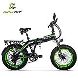 Unbekannt Rich BIT Elektrisches Fett Fahrrad 20 '' * 4,0 '' Fetter Reifen 500 Watt 48 V 10 Ah Lithium-Ionen-Batterie im Inneren Faltbarer Fahrradrahmen (Grün)