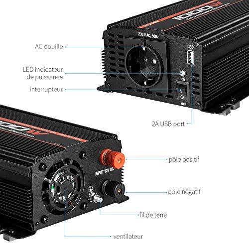 POTEK 1000W Convertisseur/Transformateur de Tension 12V à 220V/230V Chargeur Allume-cigare pour Voiture Camping-car - en Alliage d'aluminium ,onde sinusoïdale modifiée pour Voiture Bateau Camper