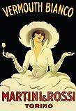 Martini & Rossi Vermouth Bianco Weiße Dame im hut alkohol schild aus blech, metal sign, tin