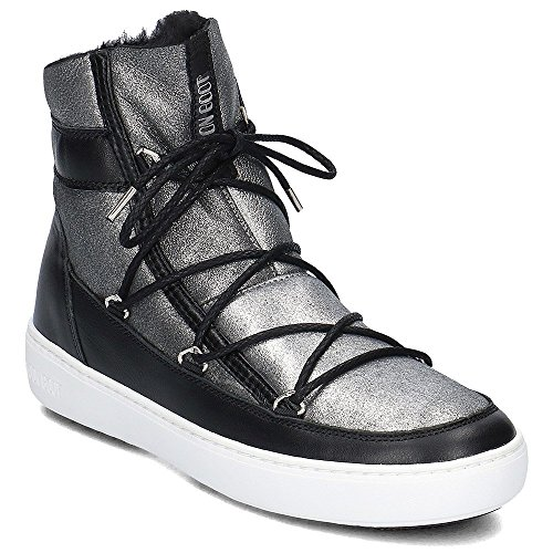 Moon Boot 24101900/001 Donna Pulse Low Shearling Nero Argento in Pelle Grigio