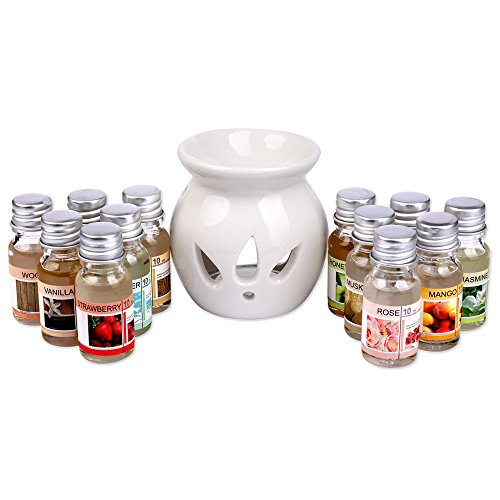 Duftöl Set mit Duftlampe Verdunster incl. 12 x 10ml Duft Öl Brenner im Geschenkset Duftstövchen Aromalampe Aromabrenner Duftölset