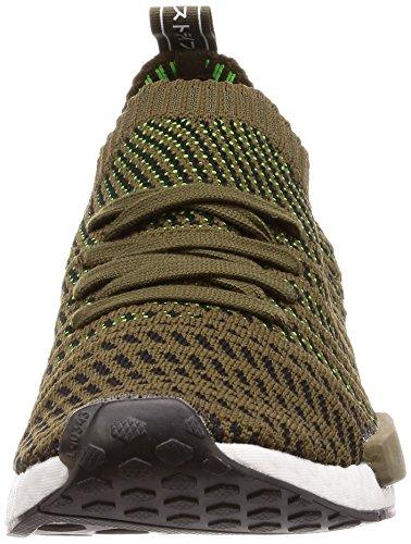 Adidas NMD_r1 Stlt Primeknit, Scarpe da Ginnastica Basse Uomo, Verde (Trace Olive/Core Black/Solar Slime 0), 41 1/3 EU