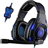 SADES SA907 7.1 USB Surround Sound cours de l'oreille Professional Stereo PC Gaming Headset Bandeau casque Cool Blue LED Lighting avec deux modes Hifi Micro Volume télécommande (noir)