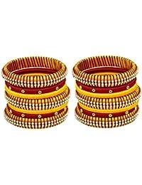 Blue Jays Hub Silk Thread Bangle Set Of 14,yellow,red, Multi Color For Women/girls