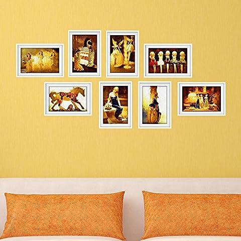 wieancreative murales decorar Marcos de Fotos pintado verde HD fondo papel pintado, estilo pegatinas de pared dormitorio sala de estar baño materiales Oro Combinación marco de imagen mural de adhesivo pegatinas de pared # 030con alta calidad
