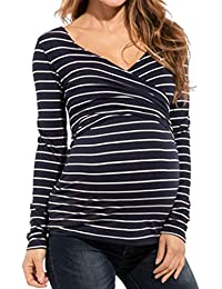 Yefree Mujeres Que amamantan Las Tapas Mujeres Embarazadas Que amamantan Las Tapas de Maternidad a Rayas Primavera V-Collar otoño suéter de la Capa Abrigo