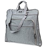 Prottoni Suit Carrier Garment Bag For Travel, Padded Laptop and Storage Pockets (Gray)
