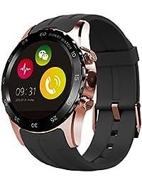 Reloj del deporte KW08 SmartWatch 350mAh de batería con Health Tracker + podómetro + Control de Frecuencia Cardíaca para iOS iPhone Android Samsung Smartphone(oro y negro)