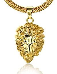 "Spangel Fashion ""KINGS LANDING"" Men's 18k Real Gold Plated Crown Lion Pendant"""
