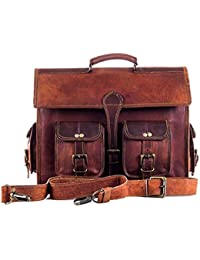 Vintage Handmade Genuine Brown Leather Laptop And Messenger Bag And Office Bag For Znt Bags - B0795TWPLJ
