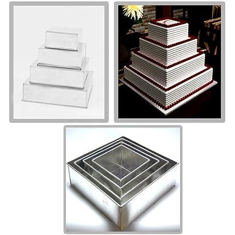 EURO TINS molde Cuadrado para tarta de boda de 4 pisos - 10 cm de profundidad (más profundidad)