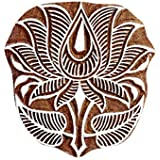 5*3.5 Inch Lotus Patttern Wooden Printing Block Textile Printing Block Henna And Tattoo Block Scrapbook Home Decoration Wooden Block By Fancy Handicraft
