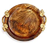 """The Indus Valley - Wooden Luxury Serving Tray Large (12"""" X 12"""" X 1"""" Inch) [Circle Shape   Mango Wood   Gold Colour Handles] *Natural & Healthy*"""