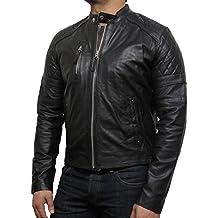 Brandslock hombre chaqueta de cuero de original de brando moto negro