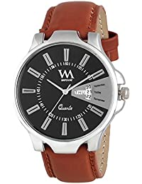 Watch Me Day And Date Collection Black Dial Brown Leather Strap Watch For Men And Boys Ddwm-007new Ddwm-007newrto4