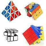 Mayatra's Magic Rubik Cube Puzzle Brainstorming Game[ Pyraminx +3x3+4x4 & Silver] Set Of 4 (4 Pieces)