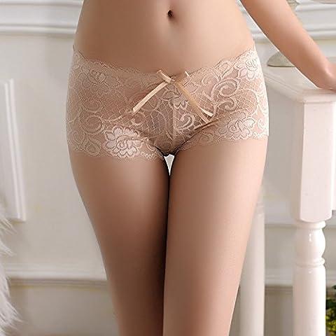 YUPN Sra ropa interior Puntilla hollowjacquard bajo la ropa de la cintura Panty bikini bragas,color nude
