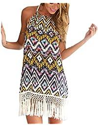 a302746f84 Highdas Women s Chiffon Beach Dress Solid Color Summer Dress - Women  Sleeveless Beach Dress Boho Halter