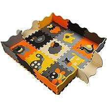 Goodid Alfombra Puzzle con Valla 25 Piezas, Alfombra Infantil de Juegos Para Niños 120cm*120cm*1cm( No.1)